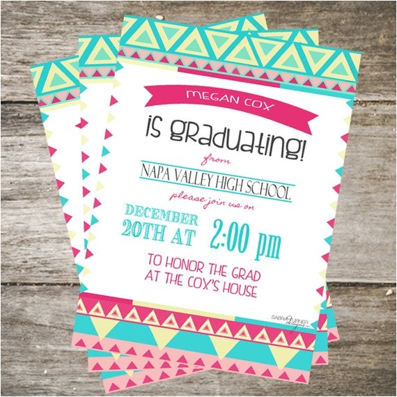 girly graduation invitation 5x7 aztec