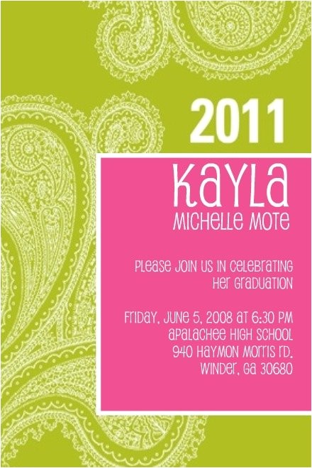 girly graduation invitation