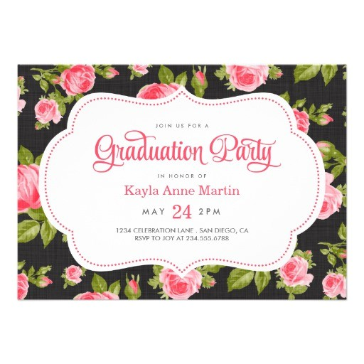 girly vintage floral print graduation party invitation 161317627525791158