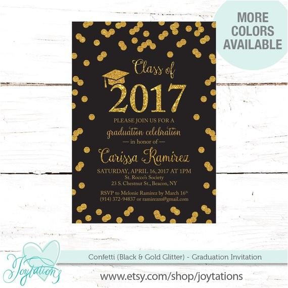 black confetti graduation party invitation gold