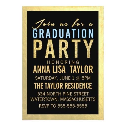 gold foil glitter graduation party invitation 161722727964707636