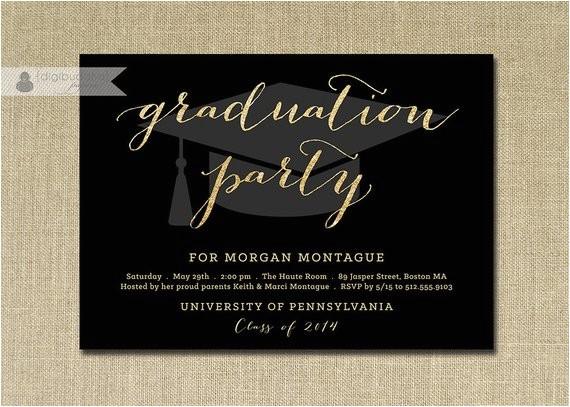 gold glitter graduation party invitation