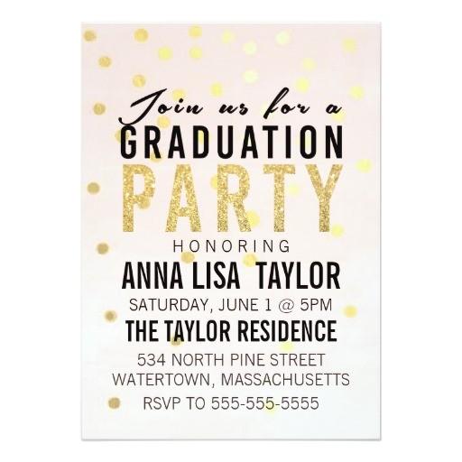 gold glitter polka dot graduation party invitation 161781108340999513