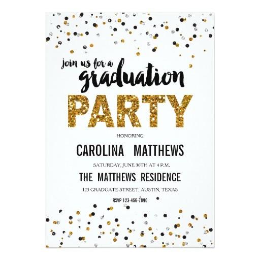 gold glitter polka dot graduation party invitation 256660364062413153