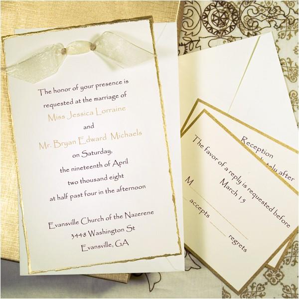 gold deckled invitation kit