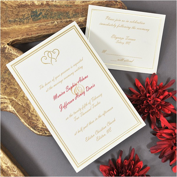 gold intertwined hearts printable invitation kit