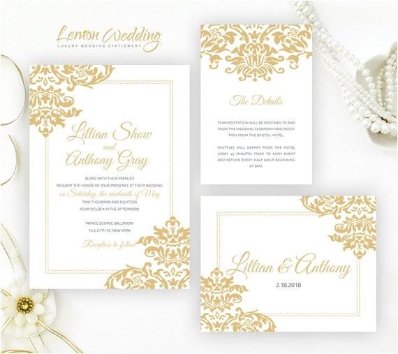 gold wedding invitation kits printed on
