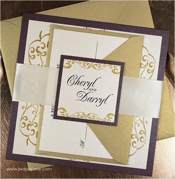 wedding invitation eggplant gold elegant
