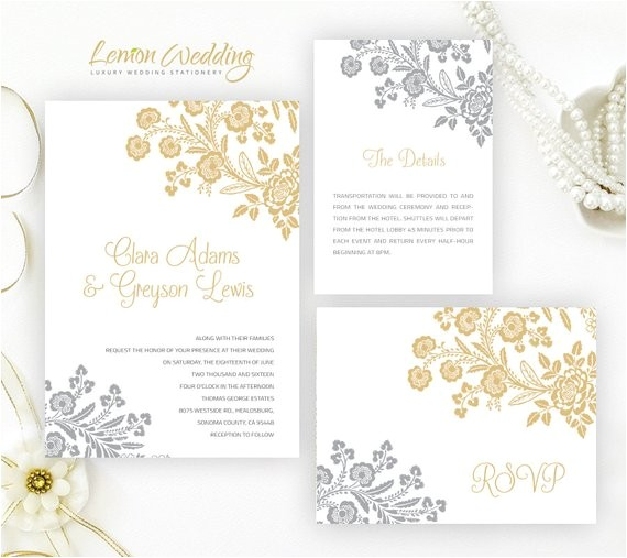 silver and gold wedding invitation kits