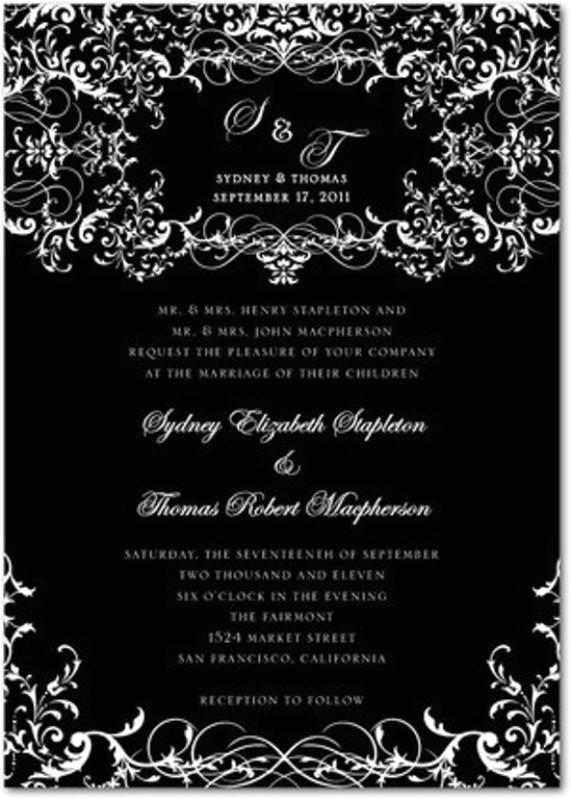stylish gothic wedding invitation design