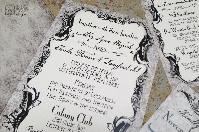 gothic victorian wedding invitation set