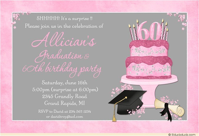 Graduation and Birthday Party Invitations Celebration Cake Graduation Card Cap Invitation Diploma