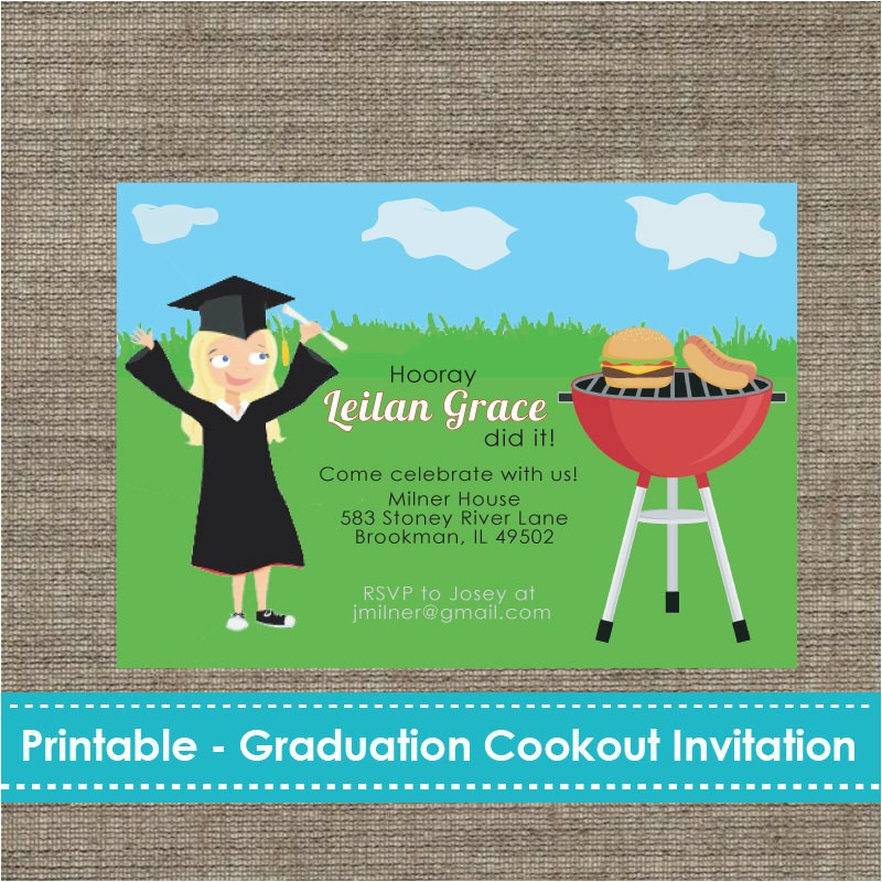 graduation cookout party invitation diy