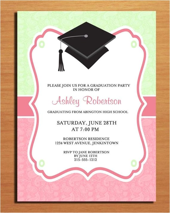 paisley graduation party invitation