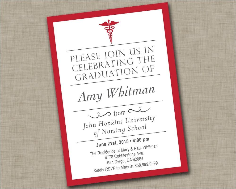 Graduation From Nursing School Invitations Nursing School Graduation Invitation Medical Graduation