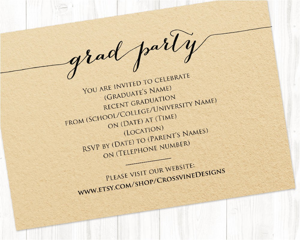 graduation party details card insert grad party information card template class of 2018 template