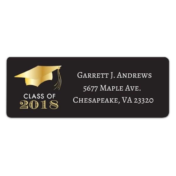 golden graduation return address labels p 634 rl ggrd
