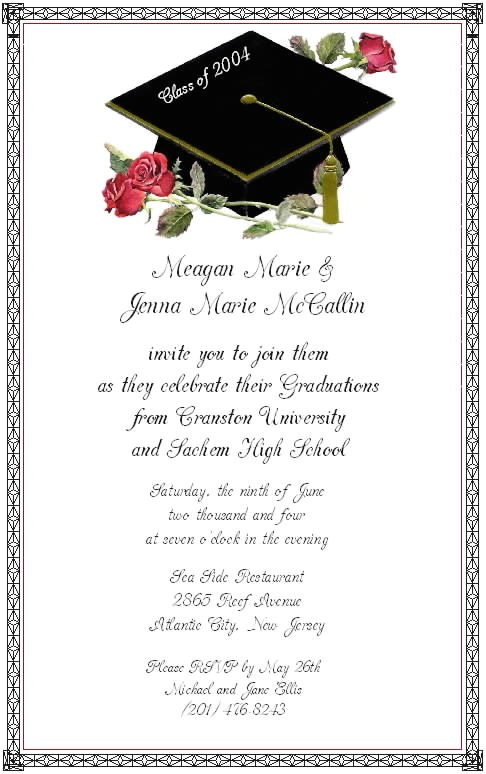 graduation invitation etiquette template