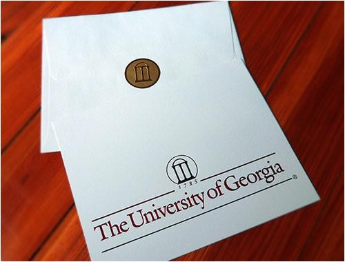 uga graduation announcement red black foil on soft ivory
