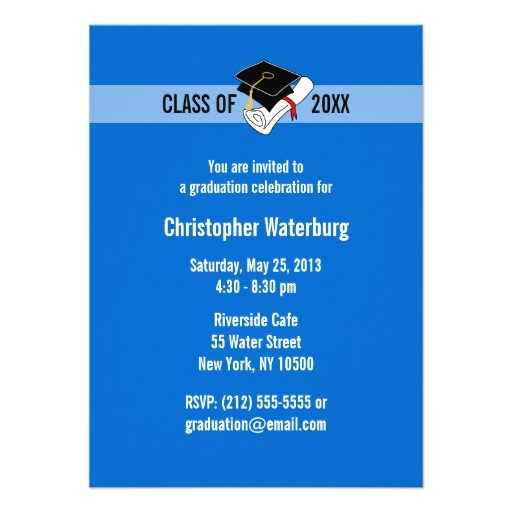 create your own graduation invitation blue 10 161213169447662832