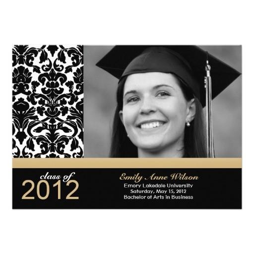 damask graduation announcement photo insert 161676773773326263