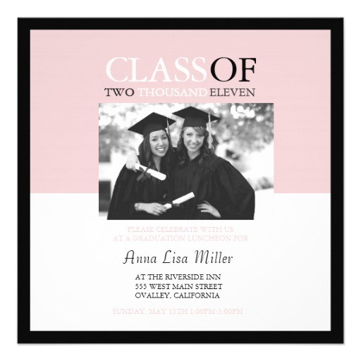 pink and black graduation party photo insert invitation 161711630417338415