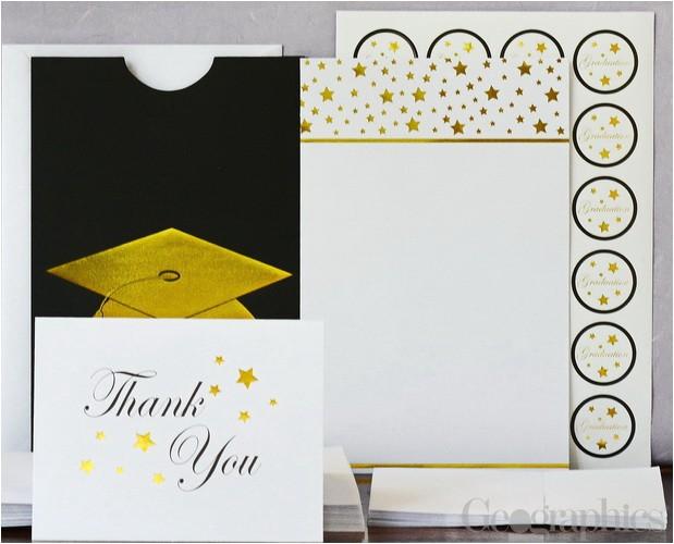 graduation cap deluxe invitation kit gold foil