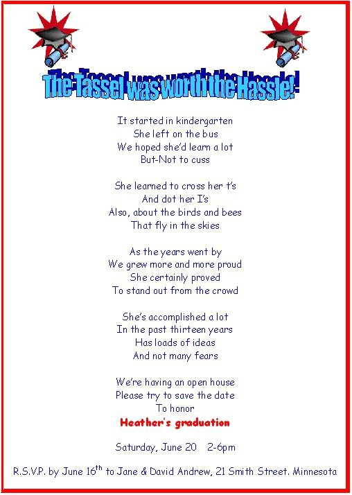 Graduation Invitation Poems Free Printable Graduation Party Invitation