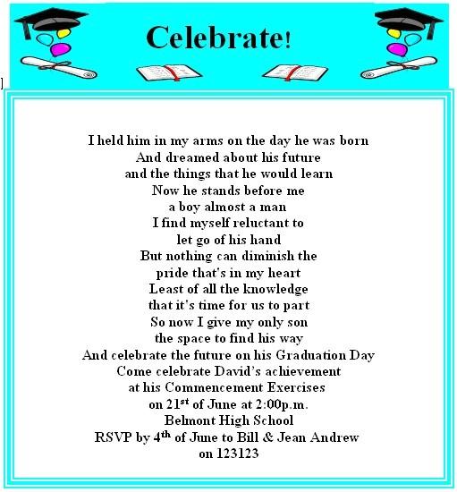 graduation invitation wording for