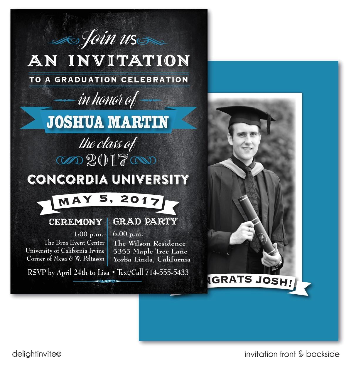 chalkboard photo graduation announcement p 3161