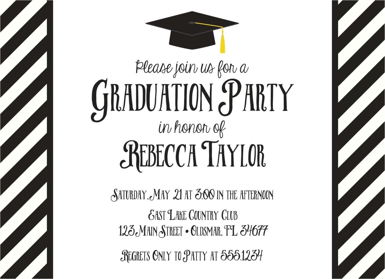 black and white graduation invitation