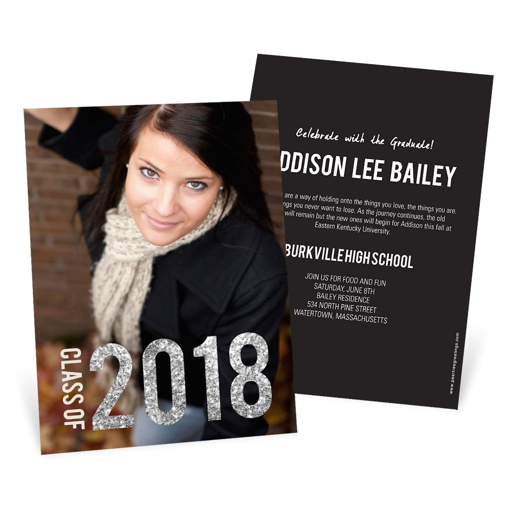 Graduation Invitations with Photos Glam Grad Vertical Photo Graduation Announcements Pear
