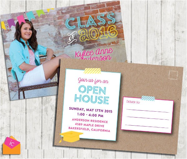 graduation invitation postcard