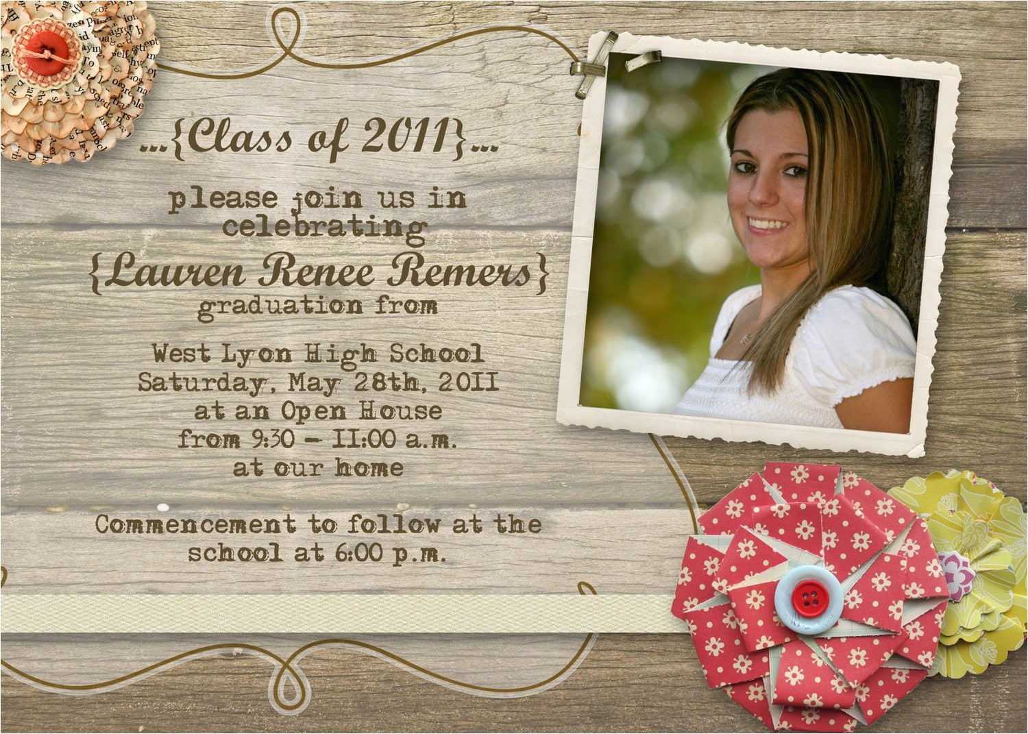 rustic graduation open house invitation