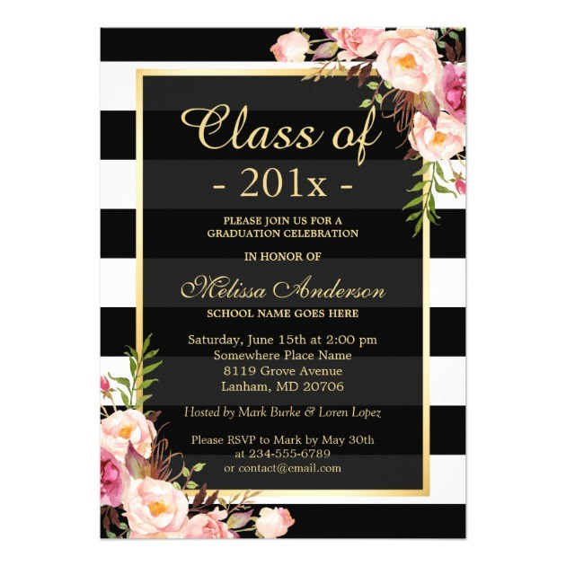 class of 2016 graduation classy floral stripes 5x7 paper invitation card 256273184856305542