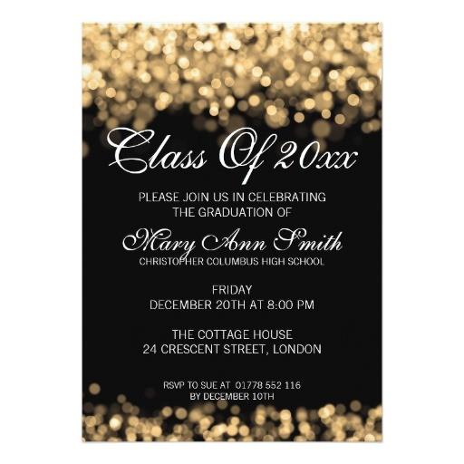 elegant graduation party gold lights 5x7 paper invitation card 161615911047025955