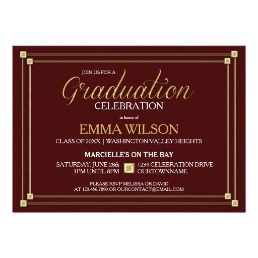 gold square border graduation party invitation 161229884949413485