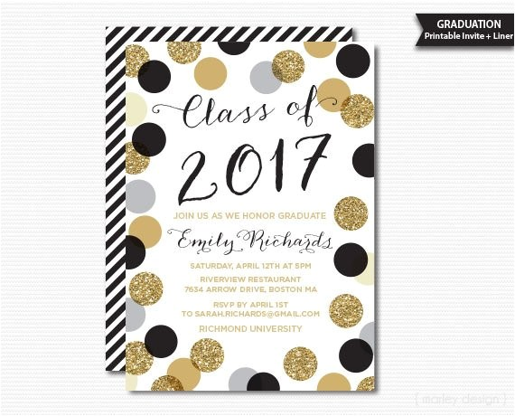 Graduation Party Invitation Kits Printable Graduation Invitation Black Gold Polka Dots