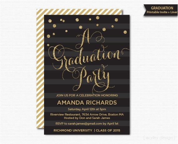 gold glitter graduation party invitation