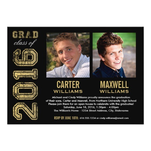 Graduation Party Invitations for Two Graduation Party Invitation Two Graduates Zazzle