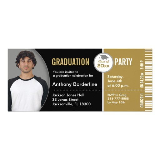 graduation ticket party invitation tkt313 gold 161686604693527085