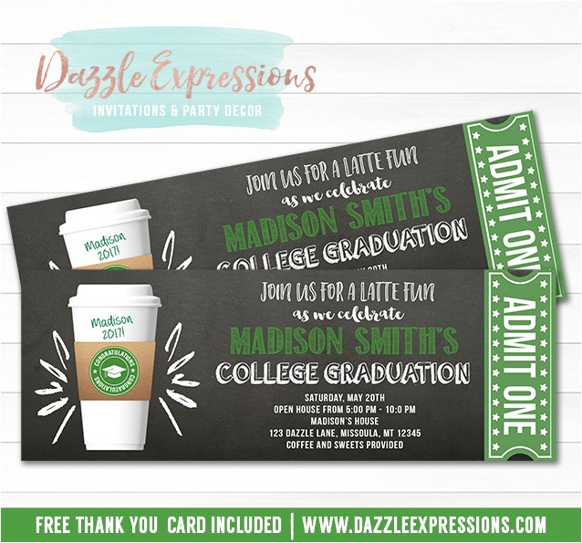 latte chalkboard ticket graduation party invitation free thank you card included