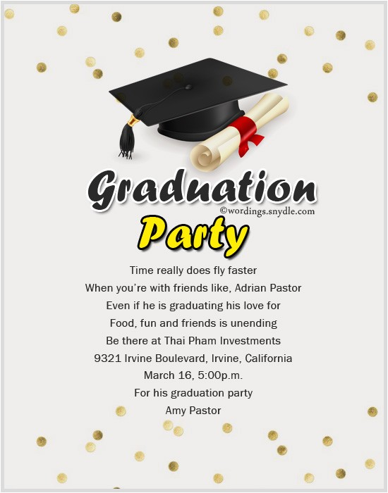 Graduation Reception Invitation Wording Graduation Party Invitation Wording Wordings and Messages