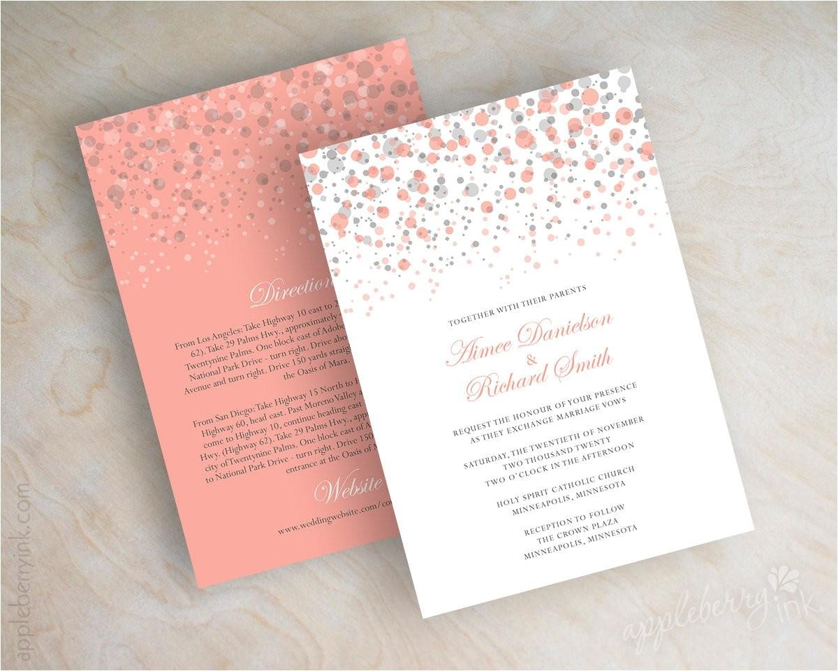 coral and gray polka dot wedding
