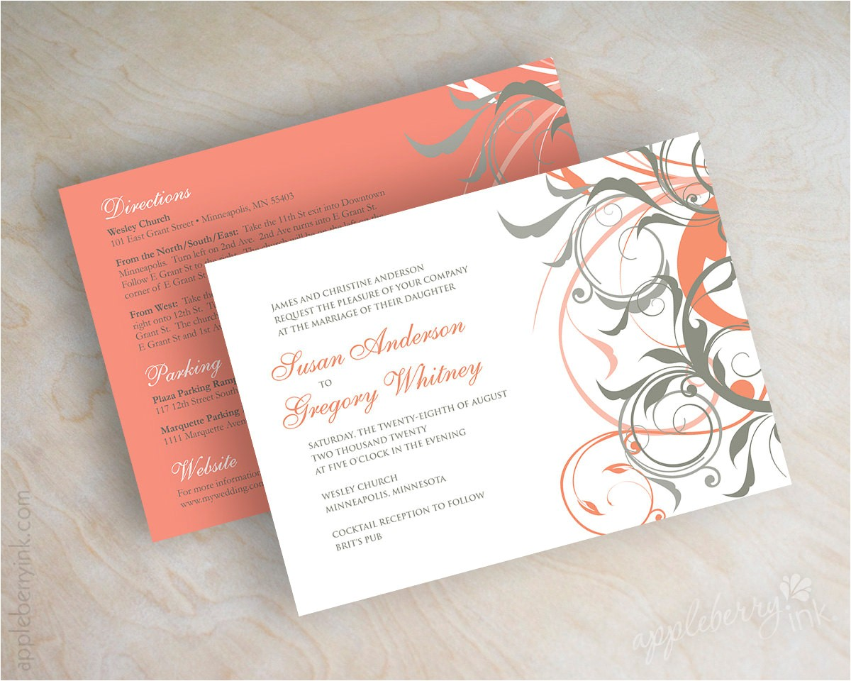 Gray and Coral Wedding Invitations Coral and Gray Wedding Invitations Coral and Grey Wedding