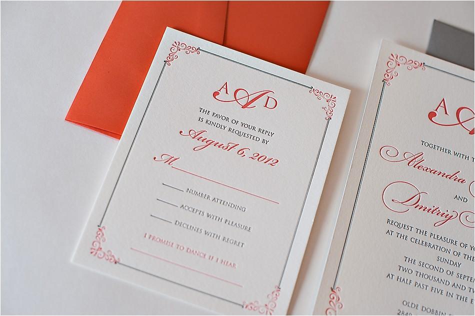 real wedding alexandra and dimitriy coral and grey wedding invitations