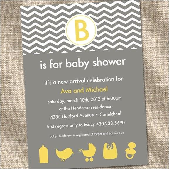 modern yellow and gray baby shower