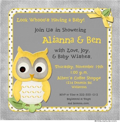 whoo baby shower invitation owl