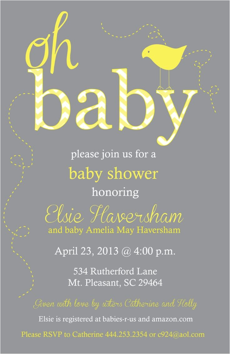 Grey and Yellow Baby Shower Invites Yellow and Gray Baby Shower Chevron Invitation Print