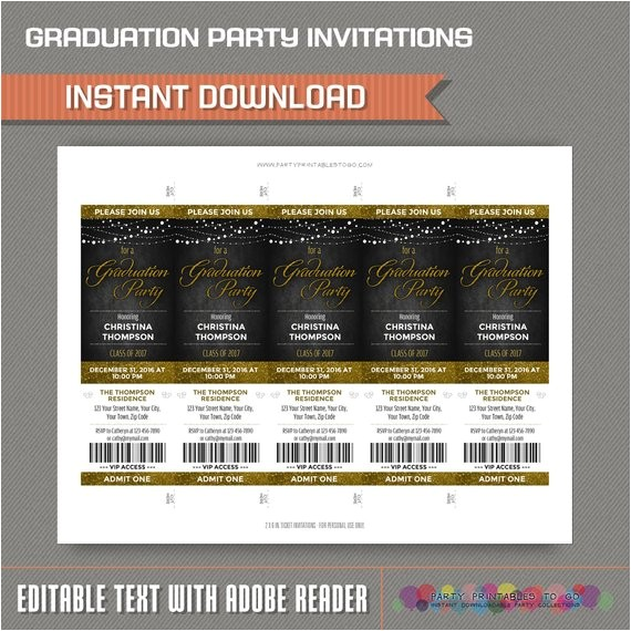 graduation party ticket invitation